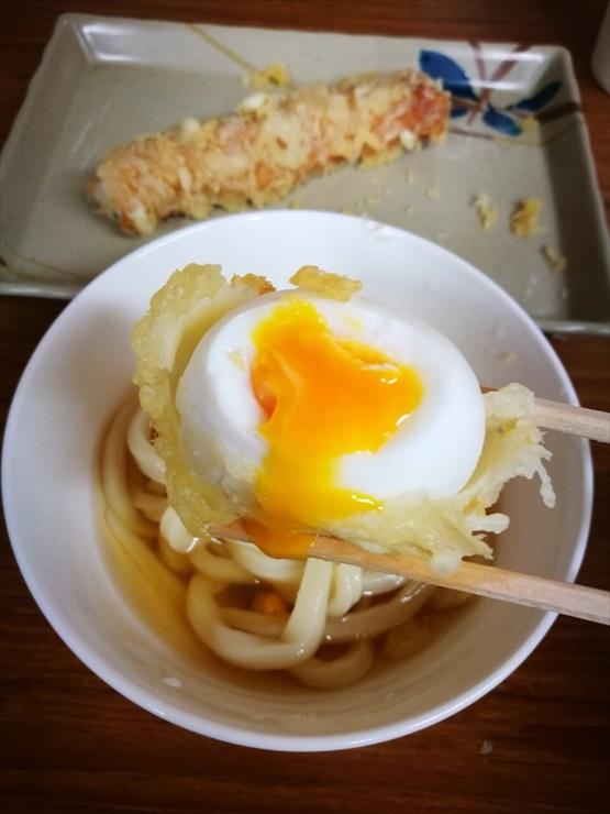 udon in Kagawa half-boiled egg and tube shaped fish cake